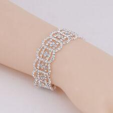 Bridal Wedding Jewelry Diamante Silver Crystal Rhinestone Floral Bangle Bracelet