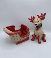 Vintage Plastic Santa Reindeer Sleigh Red Brick House