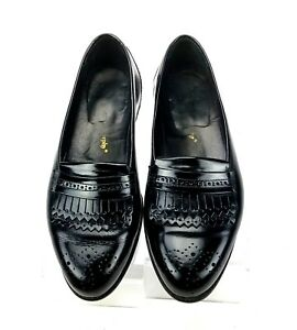 Johnston & Murphy Men's 8 W  Black Double  Kiltie  Brogue Details Slip On Loafer