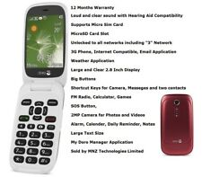 Brand New Doro PhoneEasy 6520 Red Flip 3G Big Buttons Unlocked Mobile Phone