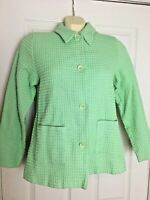 Denim & Co Women's Quilted Blazer Jacket Size Small Green Button Front