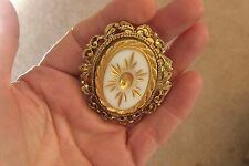 Vintage Goldtone Cameo Style Pin/Pendant with Goldtone Accent on White
