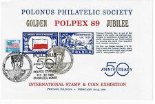 Polpex 1989 Show Card - 50th Anniv. Polonus -Golden Jubilee. Show Cancel (Sc89c)