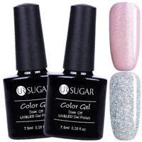 2Pcs 7.5ml Nail UV Gel Polish Glitter Sliver Pink Soak Off Nail Art Kit UR SUGAR