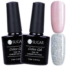 2Pcs 7.5ml Nail UV Gel Polish Glitter UV/LED Gel Soak Off Nail Art Kit UR SUGAR