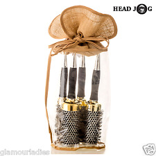 HEAD JOG Professional Radial Hair Brush Set Thermal Gold Ceramic+ Sectioning Pin