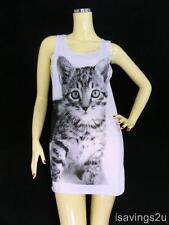 CAT KITTEN Tank Top, Kitty Print CUTE White Cotton SINGLET, T-shirt MINI Dress