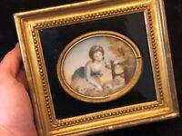 Peinture Miniature XIX ème Siècle Jeune Femme & Moutons Cadre Bois Doré