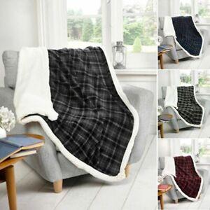 Tartan Check  WARM Sherpa Fleece FUR Sunggly Blanket Sofa / Bed Throw 130x160cm