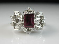 18K Ruby Diamond Ring White Gold Modernist Retro Cluster Red Genuine Fine