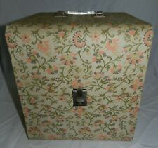 Vintage Mid Century Modern Wig or Hat travel Box with floral design