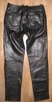 """lange """" MODEKA """" LEDERJEANS / Biker- Lederhose in schwarz in ca. W33"""" /L35"""""""
