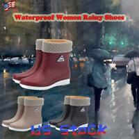 Women's Waterproof Rain Shoes Anti-slip Keep Warm Booties Mid Calf Work Boots US