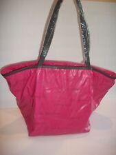 NWT $88 VIA SPIGA PINK GRAY FOLDABLE Bag Bucket Purse TOTE TRAVEL LIGHT DESIGNER