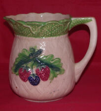 "Berry 6"" Pitcher Strawberries Jug Made in Occupied Japan Berries Blueberries Jug"
