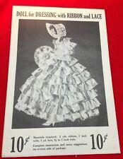 Original Ribbon Doll Pattern ~ Dol-Lee-Dolls Unused Original