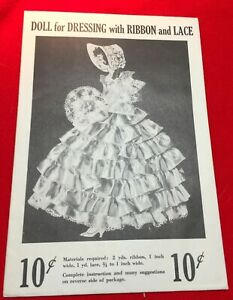 Original Ribbon Doll Pattern ~ Dol-Lee-Dolls Unused Original