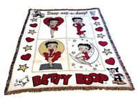 Vintage Betty Boop Tapestry Fringe Throw Blanket Boop Oop a Doop Red Cream