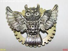 steampunk badge brooch pin silver flying owl bronze cog gearwheel Harry Potter