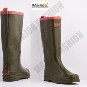 Ladies Womens Regatta Wellington Boots Fairweather Rainy Wellies Boot Olive UK 4