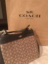 NWT Coach F57612 Signature Jacquard Lexy Shoulder Bag Handbag Purse Khaki Brown