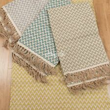 Fair Trade 75x120 Herringbone ZigZag Cotton Jute Handloom Modern Soft Large Rug