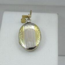Engraved Photo Locket Charm Pendant 1.3gr 14k Two Tone Gold Art Deco Hand