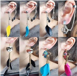 New Gothic Punk Bird Opera Mask feather Tassel Chain Ear Cuff Parrot Earring