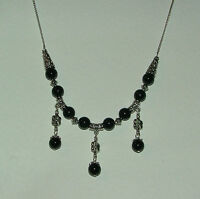 GORGEOUS BLACK GLASS SILVER PLATED NECKLACE WITH LITTLE FLOWERS 20""
