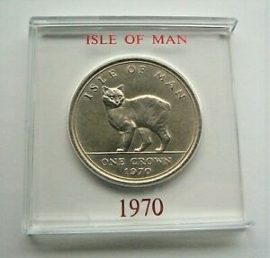 1970 MANX CAT ISLE OF MAN CROWN IN MOUNT - IoM MANX COIN LAST FIVE SHILLING COIN