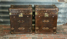 Vintage Pair of Handmade Leather Occasional Side Table Trunks