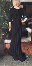 Badgley Mischka Stretch Matte Jersey V-Neck Gown BLACK Dress sz 6 new $695