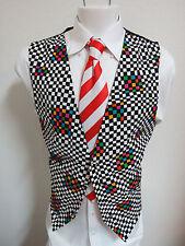 Sz L Plaid w/Matching Bow Tie MENS Rayon #95R Suit Vest Waistcoat