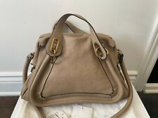 Chloe Paraty Tote Shoulder Hand Bag Leather Beige
