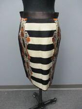 NISSE Black Striped Knee Length Back Zip Causal Skirt Sample NWT Sz 4 DD3382