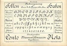 Stampa antica ALFABETO e NUMERI Rundschrift 1898 Old Print Alphabet Writing