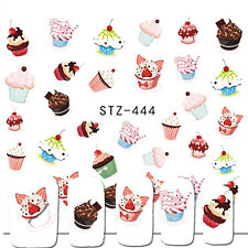 Nail Art Water Decals Stickers Decoration Cupcakes Candy Kawaii Gel Polish (444)