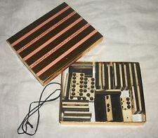 Antique Bovine Bone & Ebony Dominoe Set of 24 with brass nails