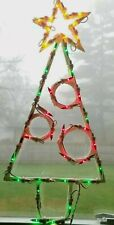 Vintage Lighted Christmas Tree Window Decor Indoor/Out Hanging Holiday Party