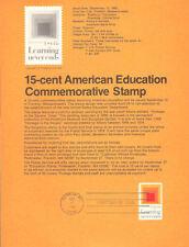 #8017 15c American Education Stamp - Scott #1833 USPS Souvenir Page