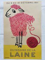 Raymond SAVIGNAC Affiche Lithographie QUINZAINE de LA LAINE 1951 Couleur Mouton