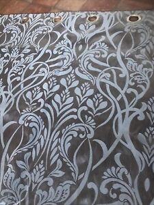 """Huge DUNELM Curtains Silvery Grey Floral Art Nouveau LONG Lined Pair W90"""" x D90"""""""