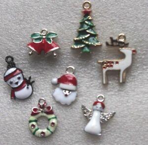 30 Xmas Mixed SP Enamel Pendant Charms Angel Bells Gift Tree Snowman Wreath ...