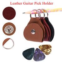 1Pcs Guitar Pick Holder Cowhide Guitarra Plectrum Case Bag Keychain