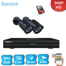 Sansco 4CH 1080N HD HDMI DVR Outdoor Night 960P CCTV Security Camera System+1TB