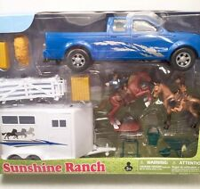 NewRay Sunshine Ranch Truck Trailer Horses Riders Fence Hay Bail Accessories New