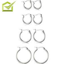 4 Pairs Sterling Silver Hoop Earrings Set Stainless Steel High Polished 10-20mm