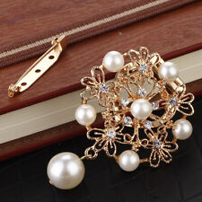 Imitation Pearl Crystal Broaches Pin Wedding Bridal Brooches 2 In 1 Clip
