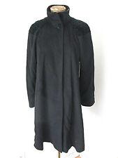 Vintage style Donnybrook black wool swing coat cross hatch shoulders Sz 6