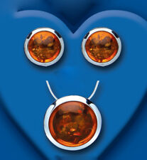 Amber Pendant and Earrings Set Solid Sterling Silver Natural Stones